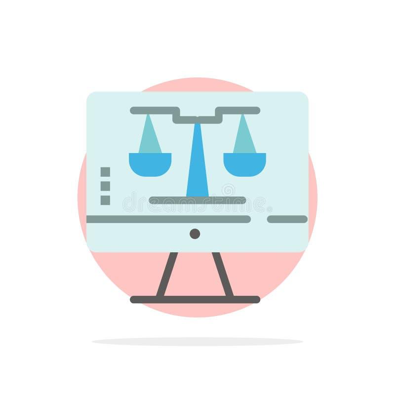 Закон онлайн, компьютер цифров, технология, значок цвета предпосылки круга конспекта экрана плоский иллюстрация вектора