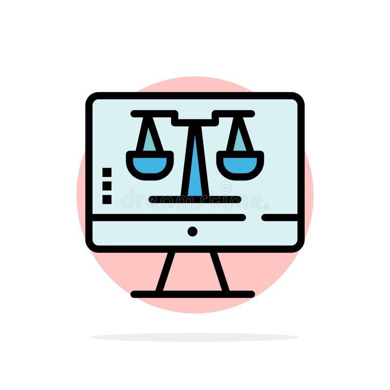 Закон онлайн, компьютер цифров, технология, значок цвета предпосылки круга конспекта экрана плоский иллюстрация штока