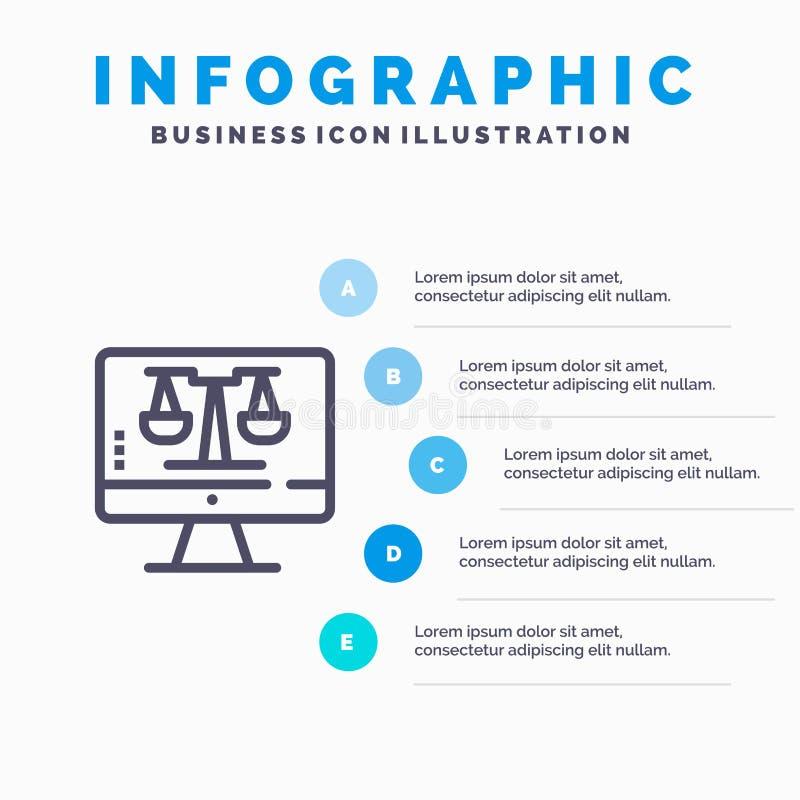 Закон онлайн, компьютер цифров, технология, линия значок экрана с предпосылкой infographics представления 5 шагов иллюстрация вектора
