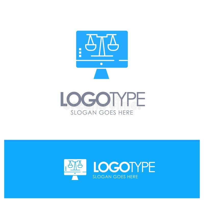 Закон онлайн, компьютер цифров, технология, логотип экрана голубой твердый с местом для слогана иллюстрация штока