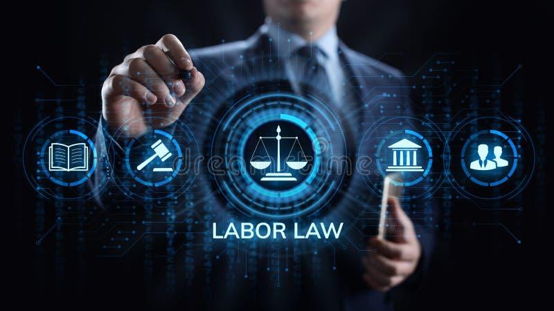 Закон о труде, юрист, поверенный в суде, концепция дела юридического совета на экране стоковые фото