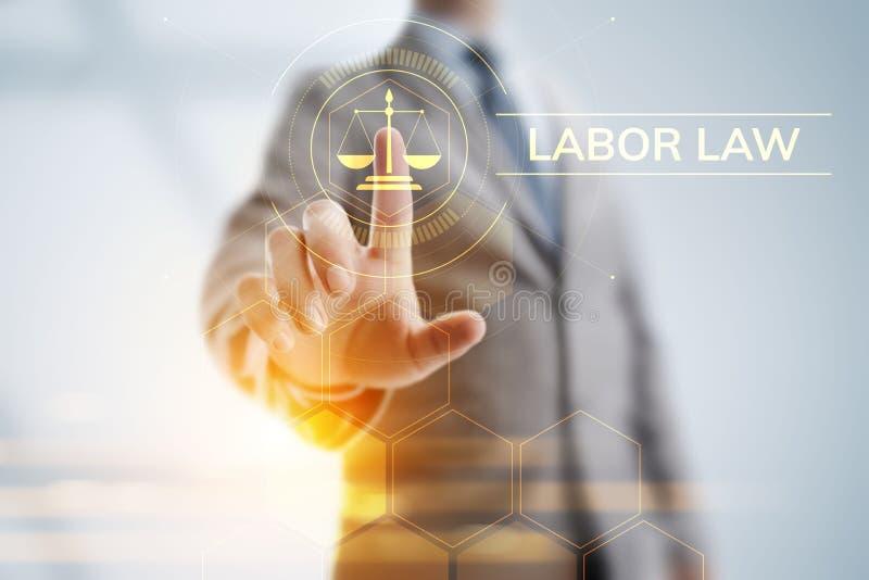 Закон о труде, юрист, поверенный в суде, концепция дела юридического совета на экране стоковые изображения rf