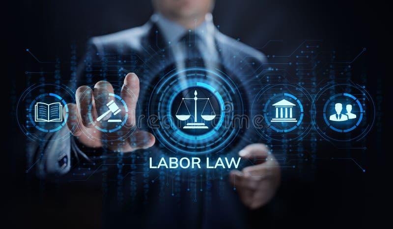 Закон о труде, юрист, поверенный в суде, концепция дела юридического совета на экране стоковые изображения