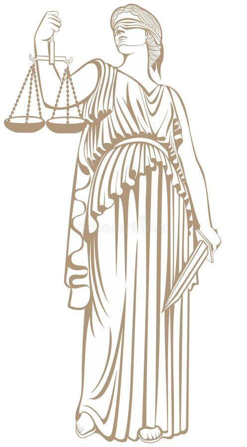 Закон справедливого суда правосудие Themis дамы бесплатная иллюстрация