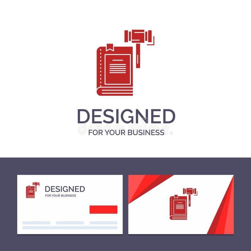 Закон творческого шаблона визитной карточки и логотипа, действие, аукцион, суд, молоток, молоток, законная иллюстрация вектора иллюстрация вектора