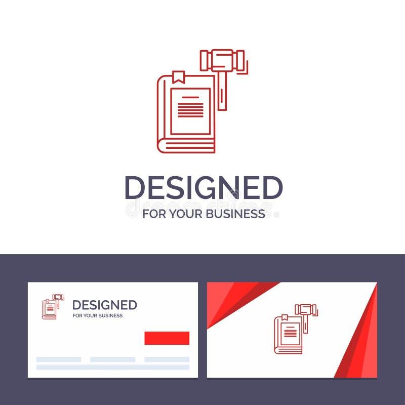 Закон творческого шаблона визитной карточки и логотипа, действие, аукцион, суд, молоток, молоток, законная иллюстрация вектора иллюстрация штока