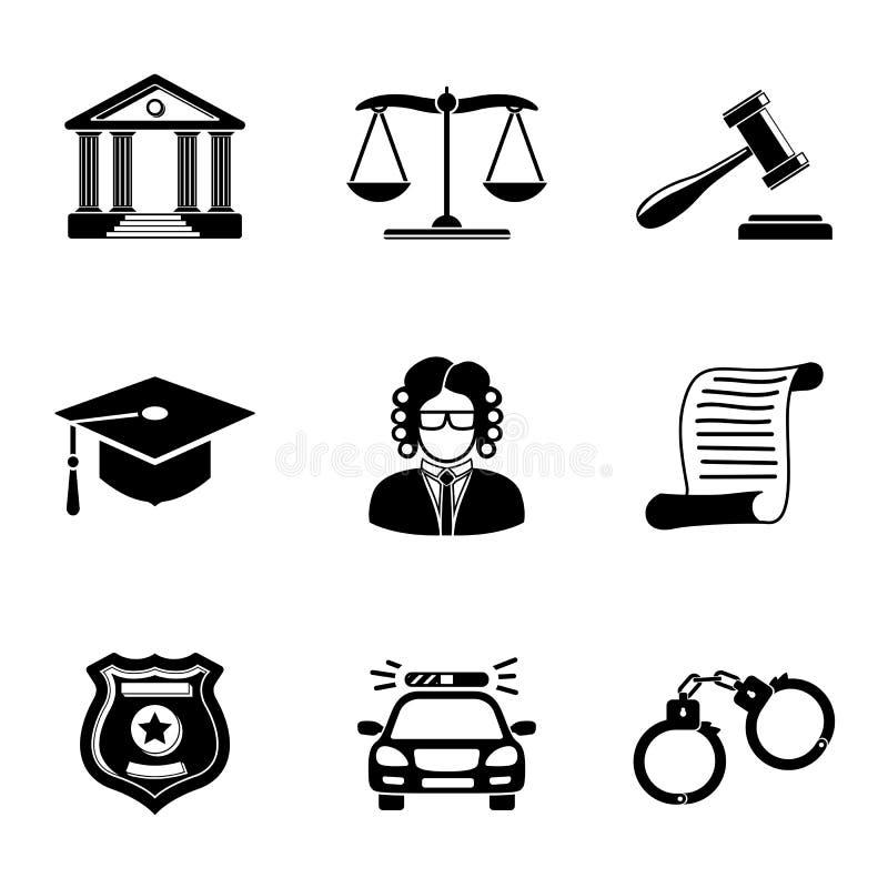 Закон, установленные значки правосудия monochrome иллюстрация вектора