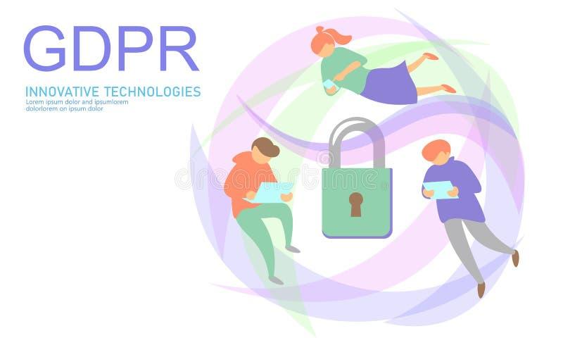 Закон GDPR защиты данных уединения Европейский союз экрана безопасности конфиденциальной информации данных регулированный Правый  бесплатная иллюстрация