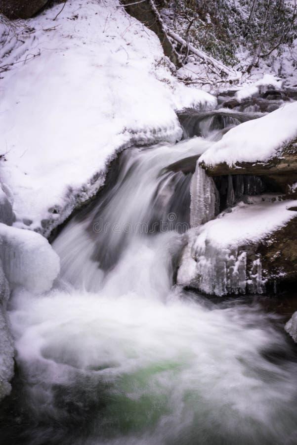 Закоптелый поток 2 зимы горы стоковая фотография