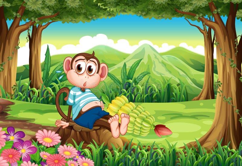 Закопченная обезьяна на лесе иллюстрация вектора