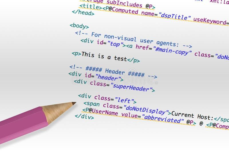 закодируйте HTML компьютера стоковые фото