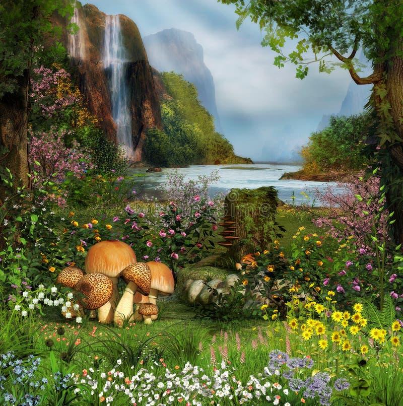 Заколдованный сад водопадом стоковое изображение