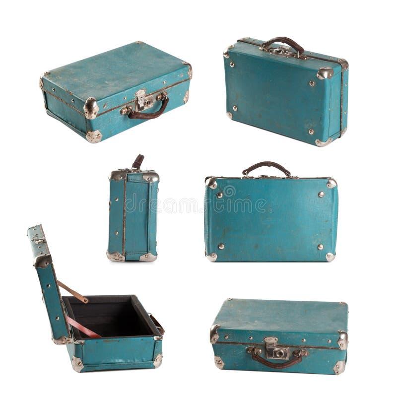 закрепляя включенный кожаный сбор винограда чемодана путя Свет-голубой (бирюза) bagel изолировано стоковое изображение