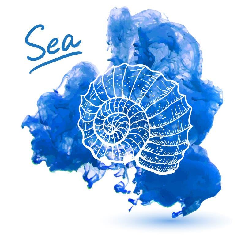 закрепляя изолированная белизна раковины моря путя иллюстрация вектора