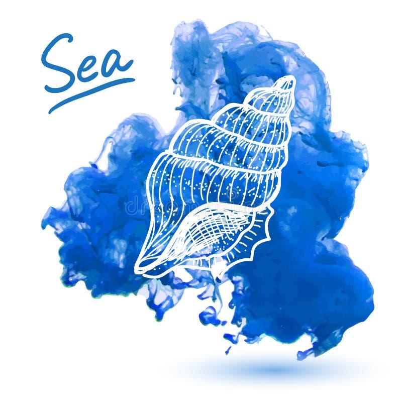 закрепляя изолированная белизна раковины моря путя иллюстрация штока