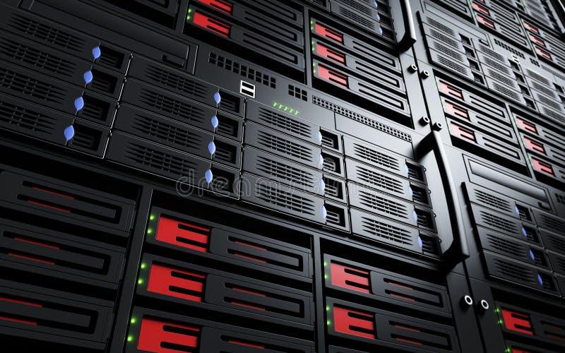 Закройте вверх включенных шкафов сервера стоковые фотографии rf