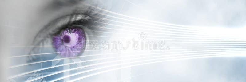 Закройте вверх глаза с фиолетовой радужкой и белым умным переходом техника иллюстрация штока