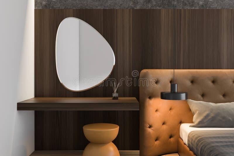 Закройте вверх деревянной спальни хозяев с зеркалом иллюстрация вектора