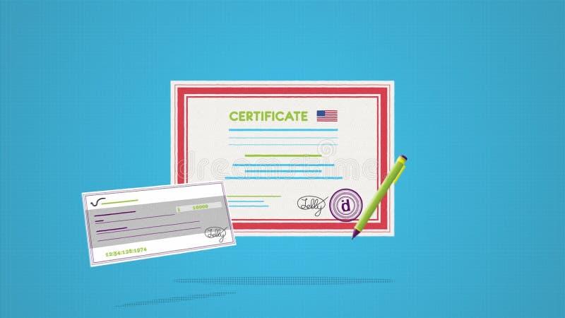 Закройте вверх для сертификата с печатью и подписью подготовленными для награждать Сертификат с флагом США и чеком бесплатная иллюстрация