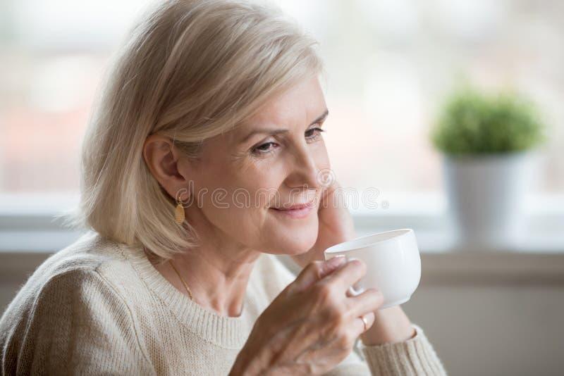 Закройте вверх достигшей возраста женской мысли о приятных моментах жизни стоковое изображение rf
