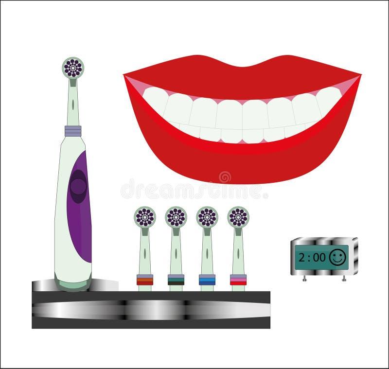 Закройте вверх здоровых зубов с электрической зубной щеткой и приурочьте часы концепции иллюстрация вектора