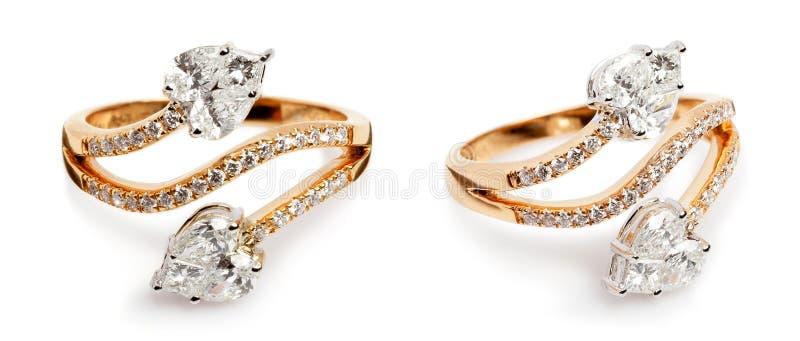 Закройте вверх золота и колец с бриллиантом стоковое фото rf