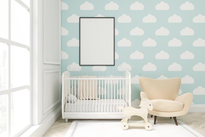 Закройте вверх комнаты ` s ребенка с обоями облака на голубой стене бесплатная иллюстрация