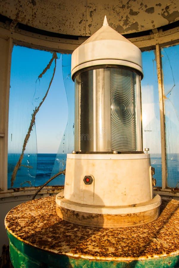 Закройте вверх маяка накидки Apolytaras к югу от острова Antikythera, одного из самых старых маяков в Греции стоковое изображение rf