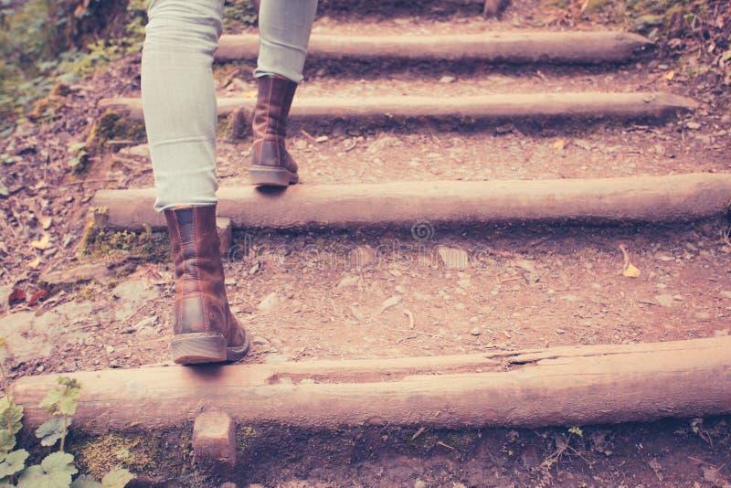 Закройте вверх на ногах женщины идя в природу стоковое фото