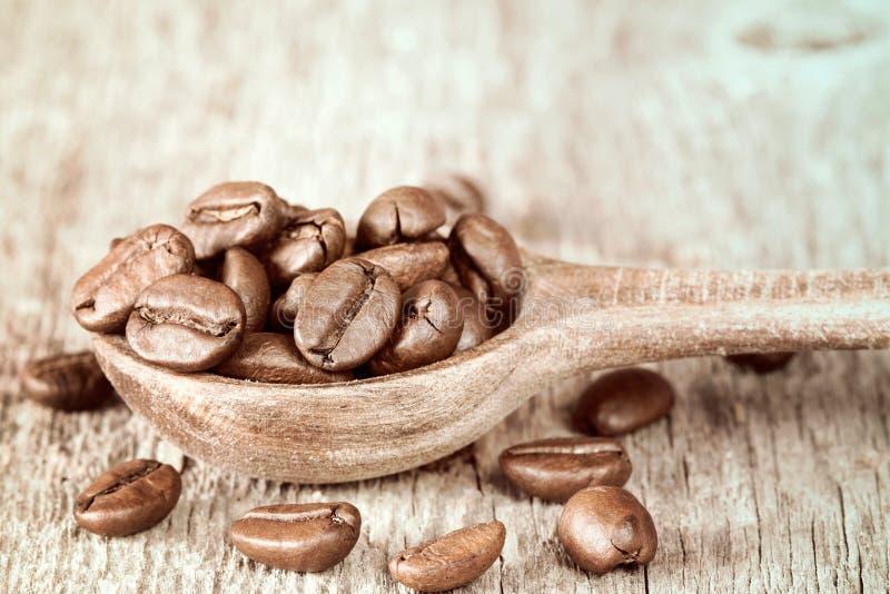 Закройте вверх ложки с кофейными зернами стоковое изображение