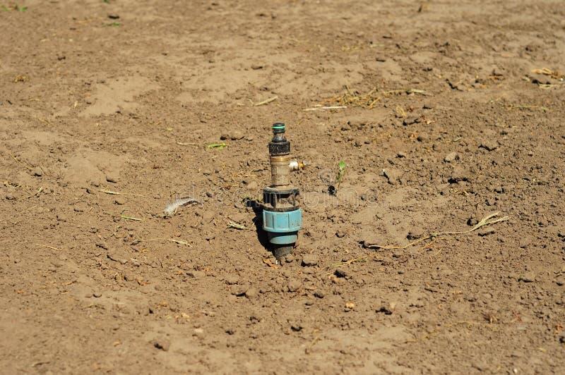 Закройте вверх о том, как раз установленном спринклере лужайки Мочить трубы системы опылительного орошения стоковые фотографии rf