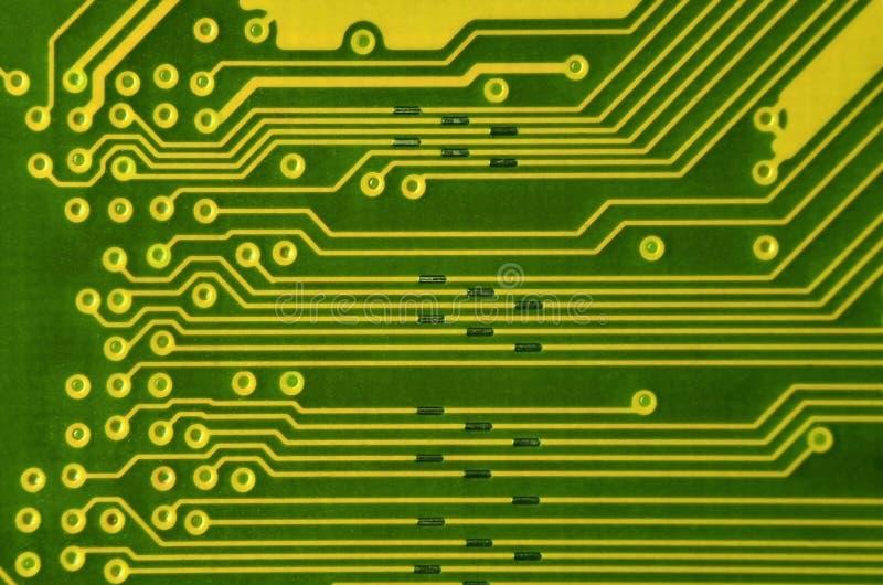 Закройте вверх покрашенной микро- монтажной платы абстрактная технология предпосылки Механизм компьютера подробно стоковое изображение rf