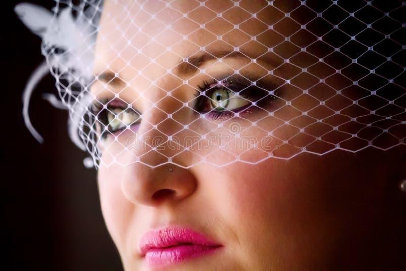 Закройте вверх по вуали Birdcage невесты стоковое изображение