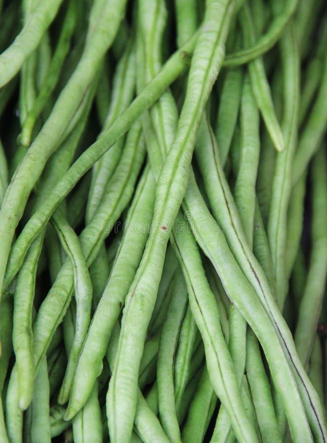 Закройте вверх по зеленой фасоли на индийском рынке стоковая фотография