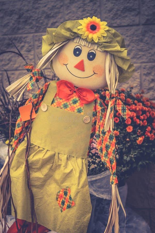 Закройте вверх по изображению чучела сада девушки на дисплее на хеллоуин стоковое фото