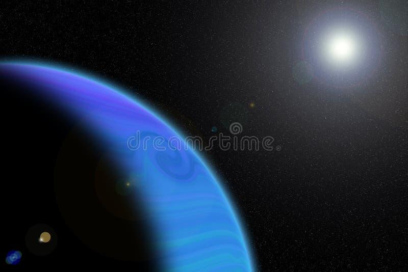 Закройте вверх по красочным газообразным планете и солнцу иллюстрация штока