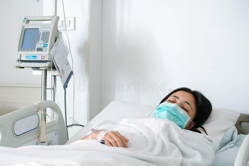 Закройте вверх по положению молодой женщины терпеливому на кровати в больнице с intrave стоковое фото rf