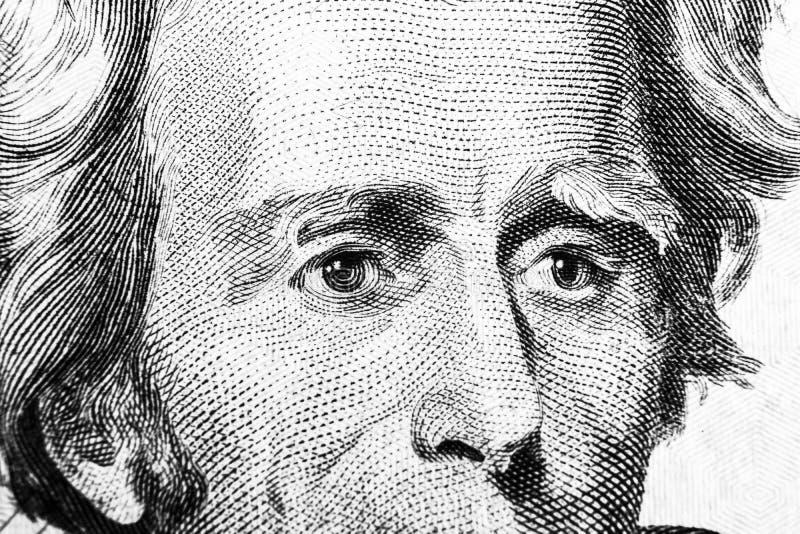 Закройте вверх по портрету взгляда Эндрю Джексона на одной долларовой банкноте 20 Предпосылка денег долларовая банкнота 20 с Эндр стоковые изображения