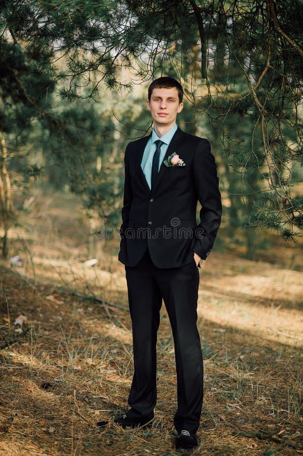 Закройте вверх по портрету красивого стильного groom outdoors в парке с красным bowtie стоковое фото