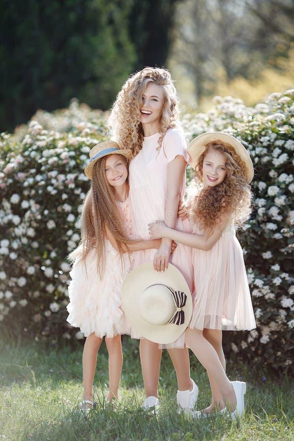 Закройте вверх по портрету 3 родных сестер на фоне парка весны стоковое фото rf