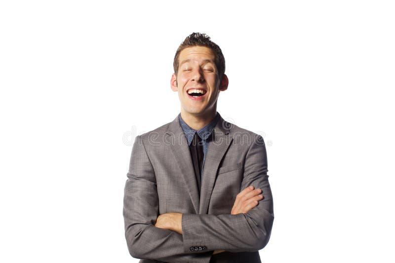 Закройте вверх по портрету смешного человека с эмоциями стоковые фотографии rf