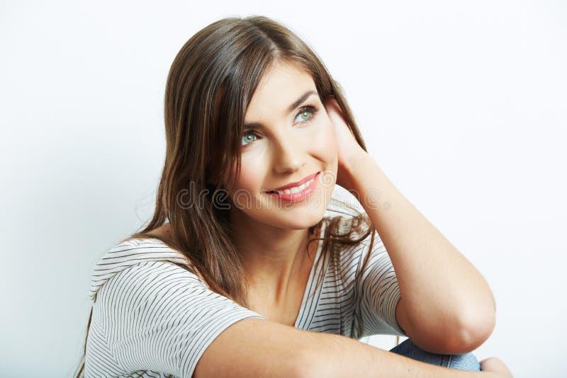 Закройте вверх по портрету стороны красивой молодой женщины стоковая фотография