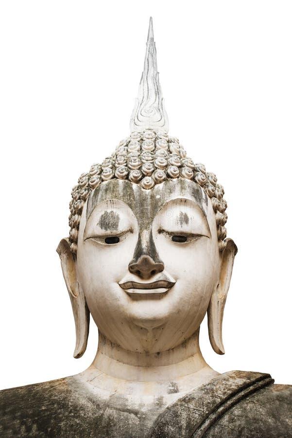 Закройте вверх по старой статуе Будды изолированной на белизне стоковые изображения rf