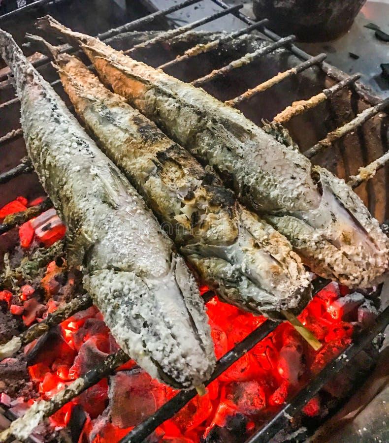 Закройте вверх по традиционному сому на плите, подлинной тайской еде угля зажаренному в духовке или зажаренному улицы Любимые мен стоковое изображение