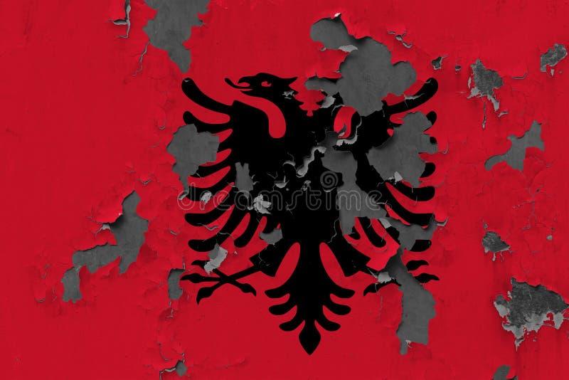 Закройте вверх по grungy, поврежденному и выдержанному флагу Албании на стене слезая с краски для того чтобы увидеть внутри повер бесплатная иллюстрация