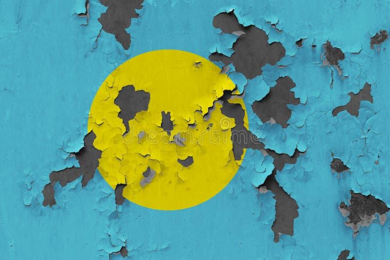 Закройте вверх по grungy, поврежденному и выдержанному флагу Палау на стене слезая с краски для того чтобы увидеть внутри поверхн бесплатная иллюстрация