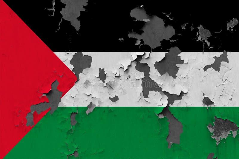 Закройте вверх по grungy, поврежденному и выдержанному флагу Палестины на стене слезая с краски для того чтобы увидеть внутри пов иллюстрация штока