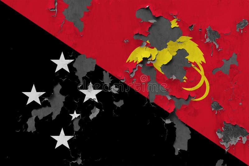 Закройте вверх по grungy, поврежденному и выдержанному флагу Папуаой-Нов Гвинеи на стене слезая с краски для того чтобы увидеть в иллюстрация вектора