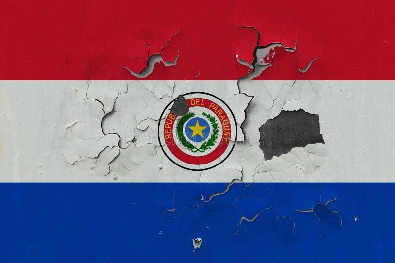 Закройте вверх по grungy, поврежденному и выдержанному флагу Парагвая на стене слезая с краски для того чтобы увидеть внутри пове иллюстрация вектора