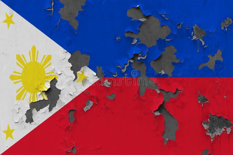 Закройте вверх по grungy, поврежденному и выдержанному флагу Филиппин на стене слезая с краски для того чтобы увидеть внутри пове иллюстрация вектора